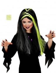 Zwarte-groene fosforescerende heksen pruik voor meisjes