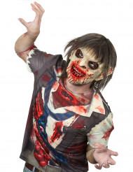 Luxe bebloede zombie masker met haren Halloween