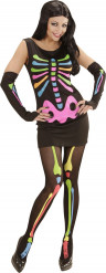 Fluo skeletten kostuum voor vrouwen Halloween