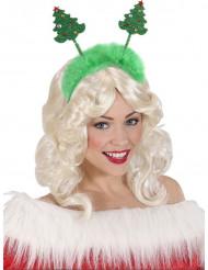 Kerstboom haarband groen met bont