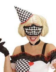 Pierrot masker met dampatroon voor volwassenen