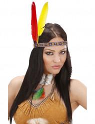 Indianen hoofdband met veren voor volwassenen