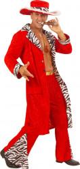 Rood pimp kostuum voor heren