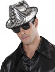 Zilverkleurig borsalino hoed voor volwassenen