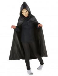 Zwarte satijnachtige cape met capuchon voor kinderen