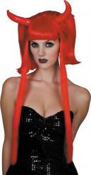 Rode duivel pruik met hoorns voor vrouwen