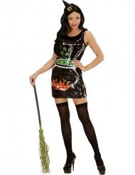 Glimmende heksen Halloween kostuum voor vrowuen