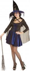 Blauwzwart heksen Halloween kostuum voor dames
