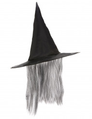 Zwarte heksen hoed met grijze haren Halloween