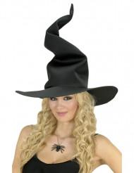 Zwarte geplooide heksen hoed voor dames