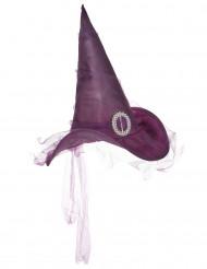 Paars heksen hoed voor dames Halloween