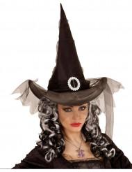 Zwarte heksen punthoed met sluierstof voor dames