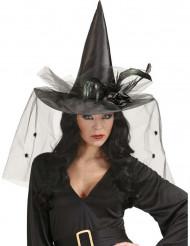Heksen hoed met tulle en veren dames Halloween