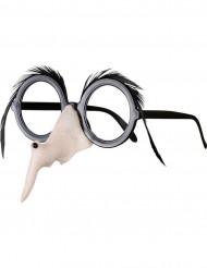 Heksen bril met neus en wenkbrauwen Halloween