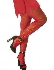 Rode panty met vlam motieven voor volwassenen Halloween