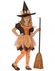 Kleine oranje heksenoutfit voor meisjes