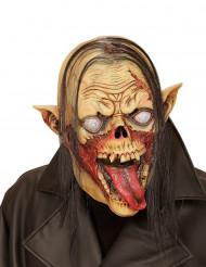 Vampier zombiemasker met haar voor volwassenen