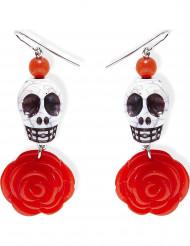 Rode rozen skelet oorbellen voor volwassenen