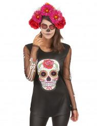 Gekleurd skeletten t-shirt voor dames Dia de los Muertos
