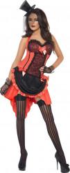 Rode cabaretdanseres kostuum voor dames