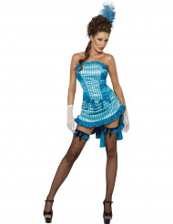 Blauwe cabaretdanseres outfit voor dames