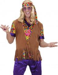 Bruin hippie vest met franjes en hoofdband voor mannen