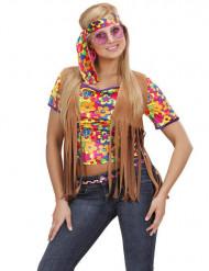 Bruin hippie vest met franjes en hoofdband voor vrouwen