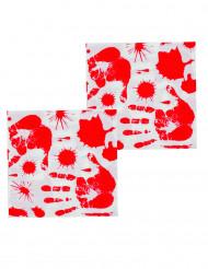Set bebloede handafdrukken servetten