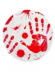 6 bloederige handen borden