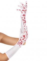 Lange witte bloederige handschoenen voor vrouwen