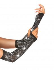 Vingerloze handschoenen spinnenweb Halloween