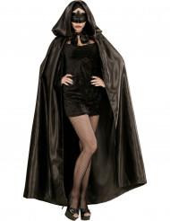 Zwarte cape met satijn effect voor volwassenen