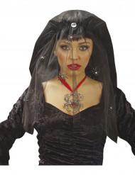 Zwarte bruidssluier met spinnen Halloween