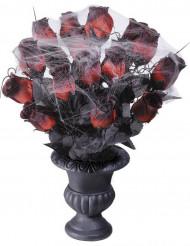 Bosje rode Halloween rozen met spinnenweb
