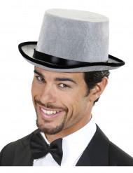 Grijze hoed met zwarte rand voor volwassenen