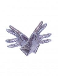 Korte zilverkleurige handschoenen voor volwassenen