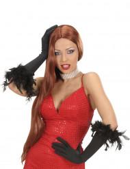 Lange zwarte handschoenen met veren voor volwassenen