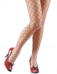 Rode visnet panty voor vrouwen