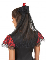 Spaanse sluier met rode roos