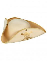 Beige en goudkleurige dames piraten hoed