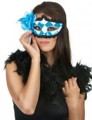 Schaakbord blauw masker met blauwe roos voor volwassenen