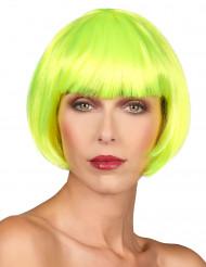 Korte fluo gele pruik voor vrouwen