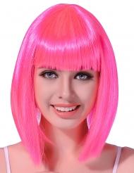Half lange fluo roze pruik voor vrouwen