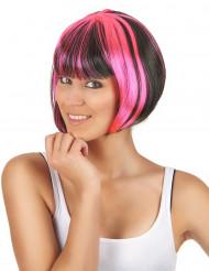 Korte bob pruik voor vrouwen in zwart en roze