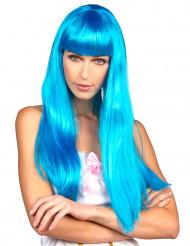 Lange fluo blauwe pruik voor vrouwen