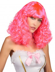 Roze pruik met pony voor vrouwen