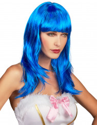 Lange fluo blauwe pruik met pony voor vrouwen