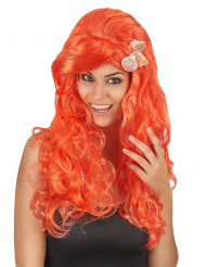 Lange oranje pruik voor vrouwen