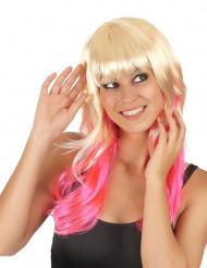 Tie & Dye blond met roze dames pruik