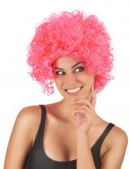 Korte roze dames pruik met krullen